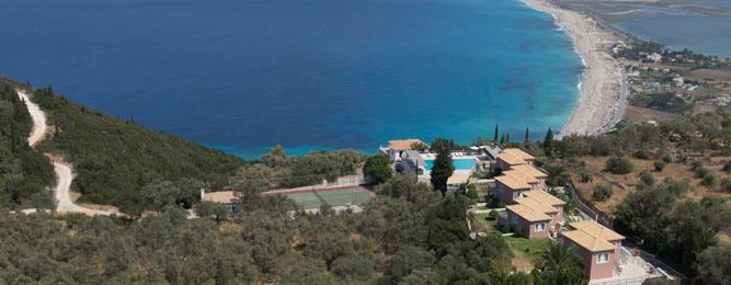 Panoramic view of Mira Resort and Agios Ioannis beach